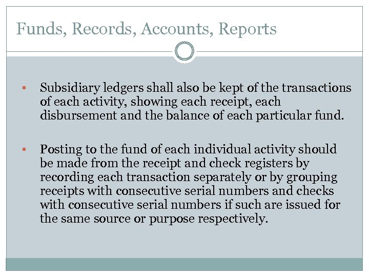 Funds, Records, Accounts, Reports § Subsidiary ledgers shall also be kept of the transactions