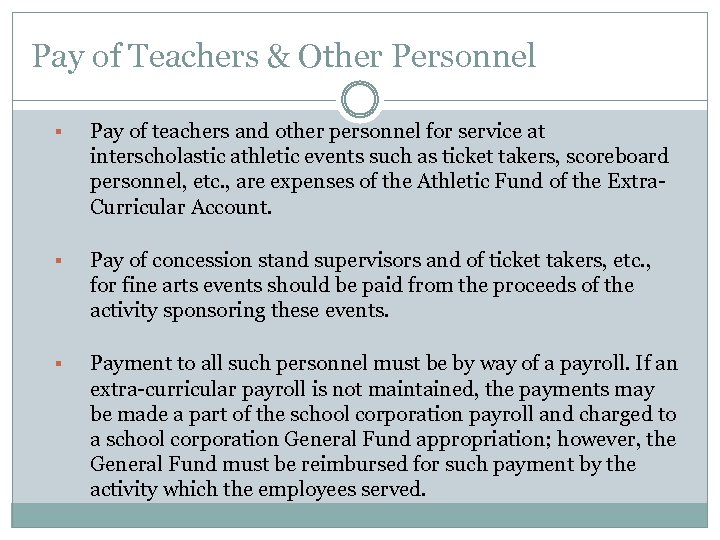 Pay of Teachers & Other Personnel § Pay of teachers and other personnel for