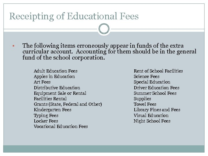 Receipting of Educational Fees § The following items erroneously appear in funds of the