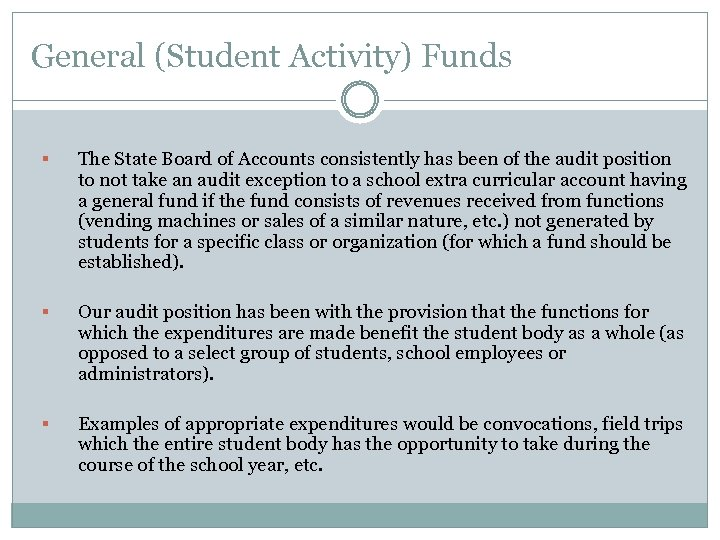 General (Student Activity) Funds § The State Board of Accounts consistently has been of