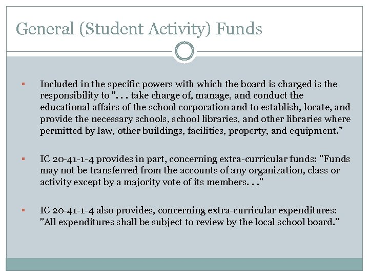 General (Student Activity) Funds § Included in the specific powers with which the board