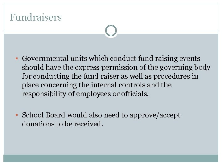 Fundraisers § Governmental units which conduct fund raising events should have the express permission