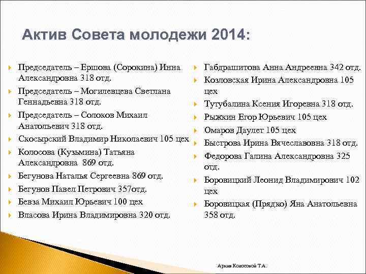 Актив Совета молодежи 2014: Председатель – Ершова (Сорокина) Инна Александровна 318 отд. Председатель –