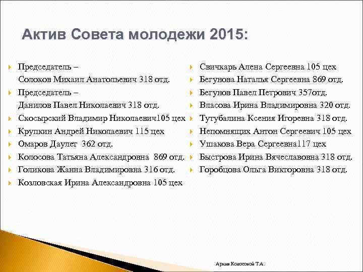 Актив Совета молодежи 2015: Председатель – Солоков Михаил Анатольевич 318 отд. Председатель – Данилов