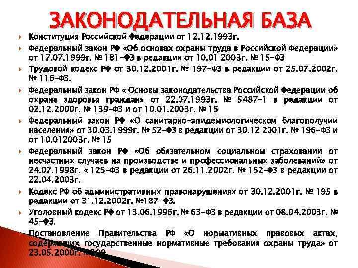 ЗАКОНОДАТЕЛЬНАЯ БАЗА Конституция Российской Федерации от 12. 1993 г. Федеральный закон РФ «Об