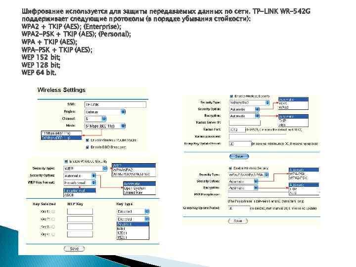 Шифрование используется для защиты передаваемых данных по сети. TP-LINK WR-542 G поддерживает следующие протоколы