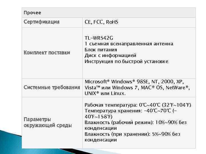Прочее Сертификация Комплект поставки CE, FCC, Ro. HS TL-WR 542 G 1 съемная всенаправленная