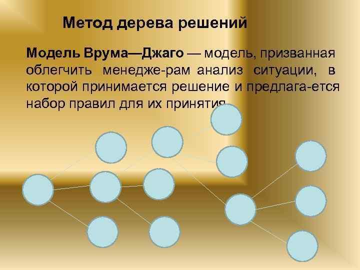 Метод дерева решений Модель Врума—Джаго — модель, призванная облегчить менедже рам анализ ситуации, в