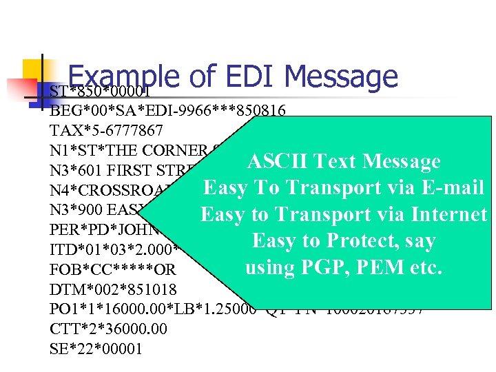 Example of EDI Message ST*850*00001 BEG*00*SA*EDI-9966***850816 TAX*5 -6777867 N 1*ST*THE CORNER STORE*09*0799332120001 ASCII Text