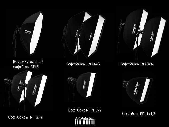 Восьмиугольный софтбокс RFi 5 Софтбоксы RFi 4 x 6 Софтбокс RFi 1, 3 x