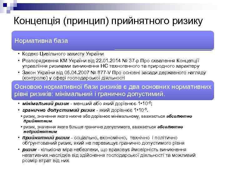 Концепція (принцип) прийнятного ризику Нормативна база • Кодекс Цивільного захисту України • Розпорядження КМ