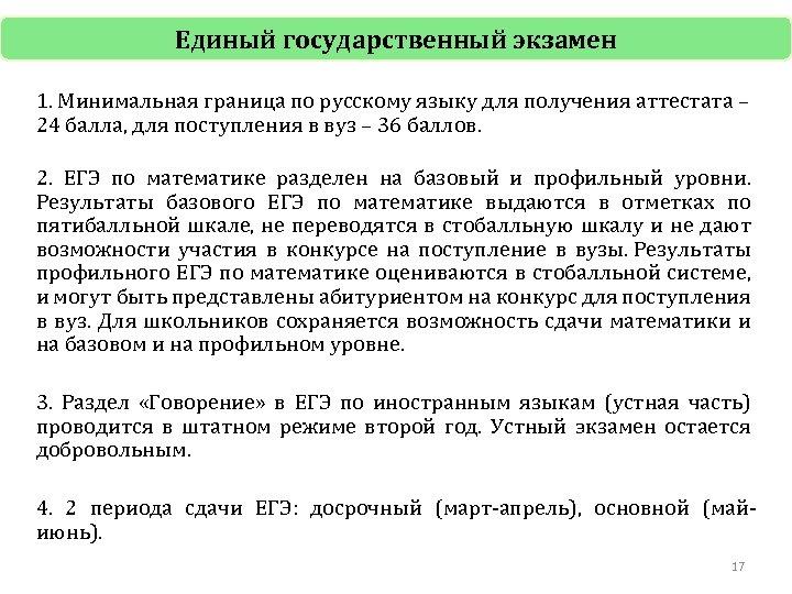 Единый государственный экзамен 1. Минимальная граница по русскому языку для получения аттестата – 24