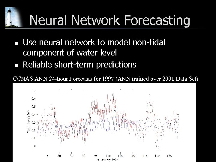 Neural Network Forecasting n n Use neural network to model non-tidal component of water