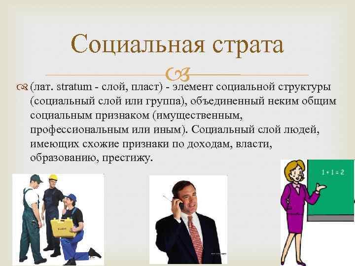 Социальная страта социальной структуры (лат. stratum - слой, пласт) - элемент (социальный слой или