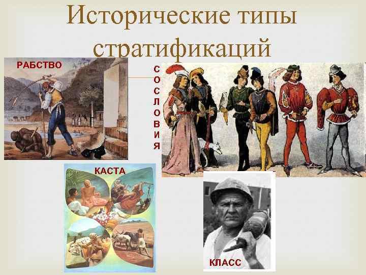РАБСТВО Исторические типы стратификаций С О С Л О В И Я КАСТА КЛАСС