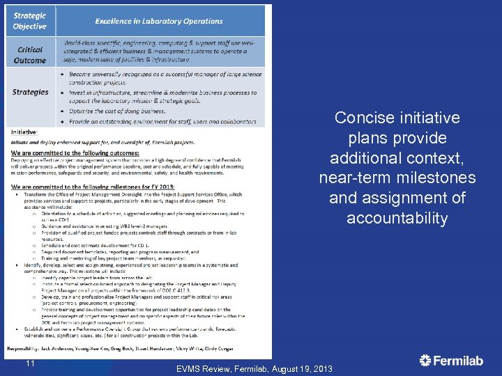 Concise initiative plans provide additional context, near-term milestones and assignment of accountability 11 EVMS