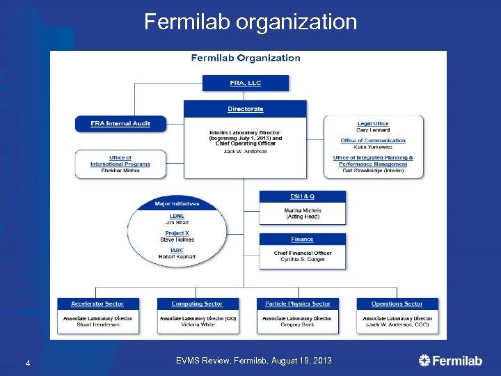 Fermilab organization 4 EVMS Review, Fermilab, August 19, 2013
