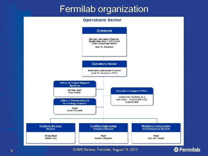 Fermilab organization 5 EVMS Review, Fermilab, August 19, 2013