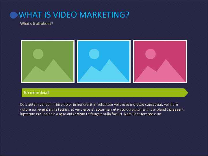 WHAT IS VIDEO MARKETING? What's it all about? For more detail Duis autem vel