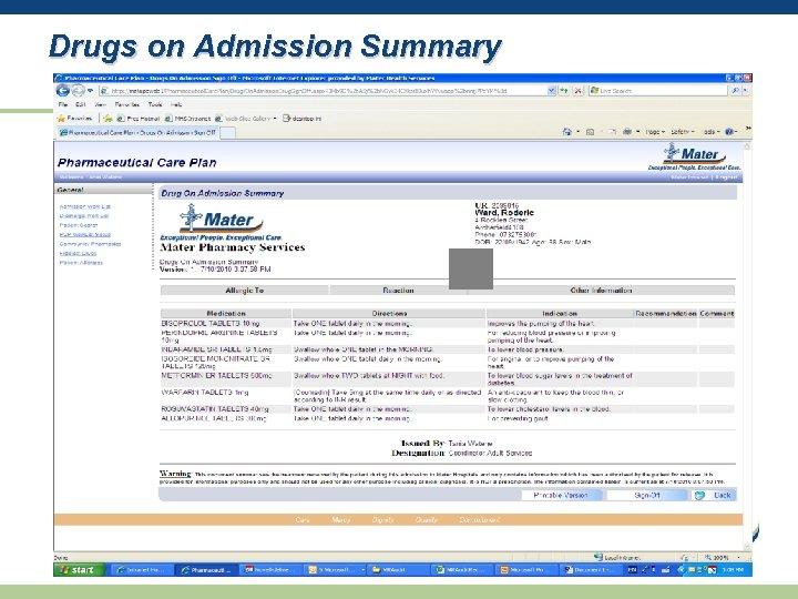 Drugs on Admission Summary