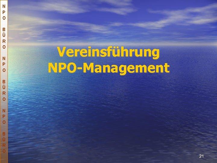 N P O B Ü R O N P O Vereinsführung NPO-Management B Ü