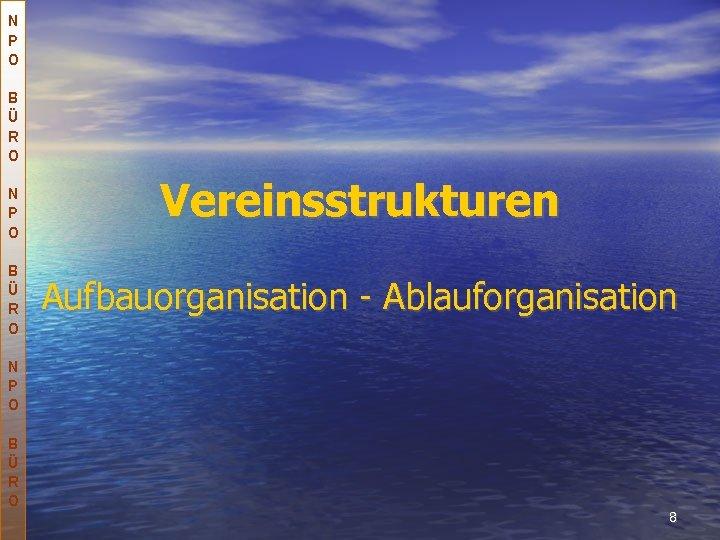 N P O B Ü R O Vereinsstrukturen Aufbauorganisation - Ablauforganisation N P O
