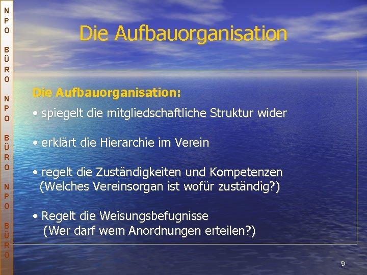 N P O B Ü R O Die Aufbauorganisation: • spiegelt die mitgliedschaftliche Struktur