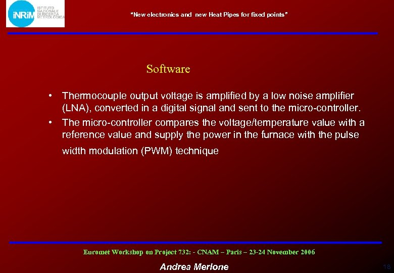 """New electronics and new Heat Pipes for fixed points"" Software • Thermocouple output voltage"