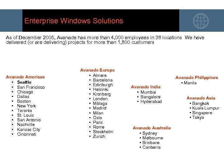 Enterprise Windows Solutions As of December 2005, Avanade has more than 4, 000 employees