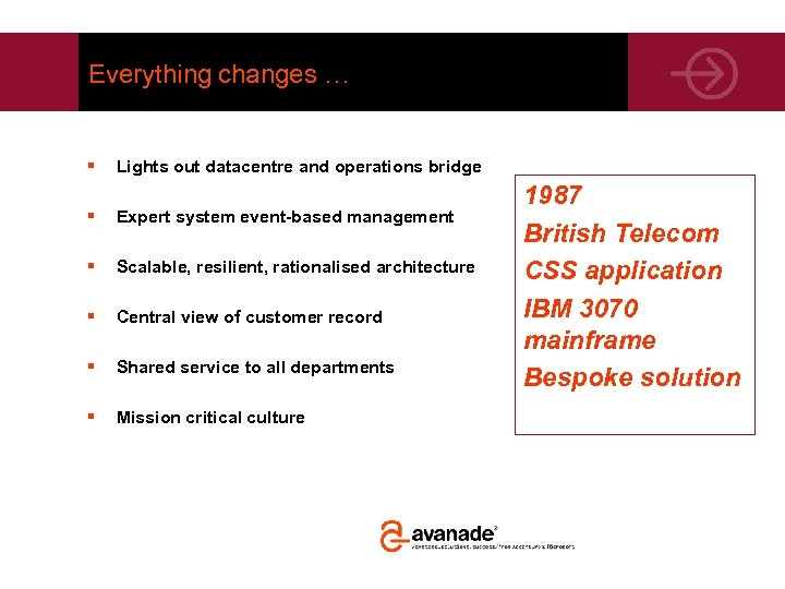 Everything changes … § Lights out datacentre and operations bridge § Expert system event-based