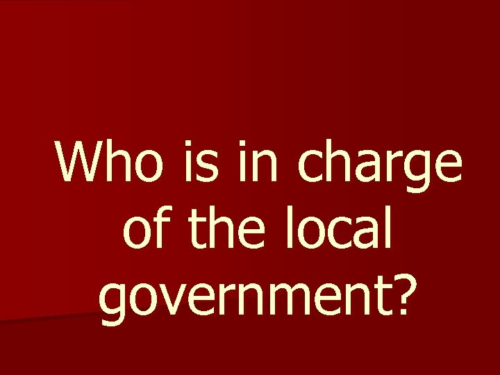 Who is in charge of the local government?