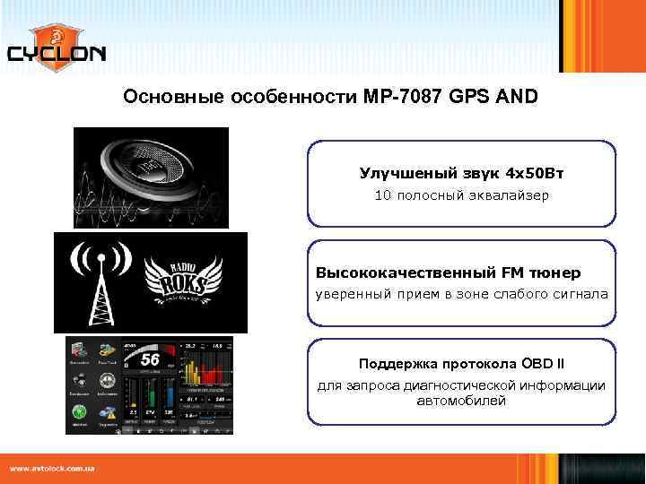 Основные особенности MP-7087 GPS AND Улучшеный звук 4 х50 Вт 10 полосный эквалайзер Высококачественный