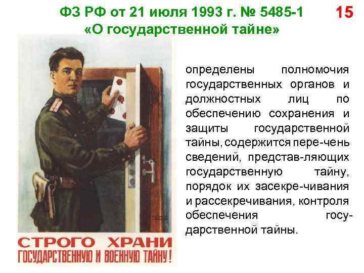 ФЗ РФ от 21 июля 1993 г. № 5485 -1 «О государственной тайне» 15