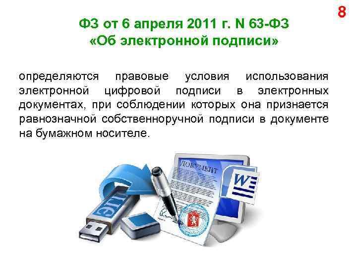 ФЗ от 6 апреля 2011 г. N 63 -ФЗ «Об электронной подписи» определяются правовые