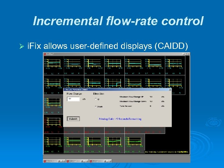 Incremental flow-rate control Ø i. Fix allows user-defined displays (CAIDD)