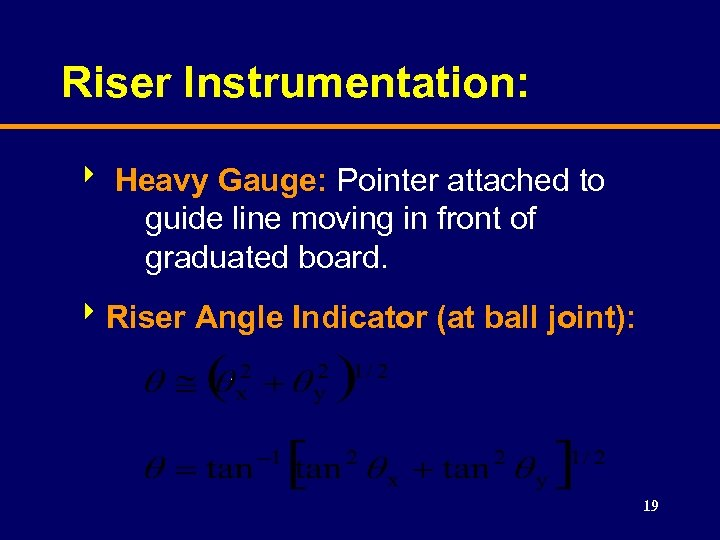 Riser Instrumentation: 8 Heavy Gauge: Pointer attached to guide line moving in front of
