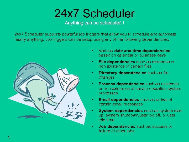 24 x 7 Scheduler Anything can be scheduled ! 24 x 7 Scheduler supports