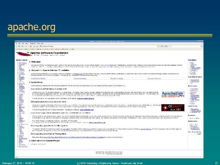 apache. org February 21, 2010 – 18: 05: 19 (c) 2010 University of California,