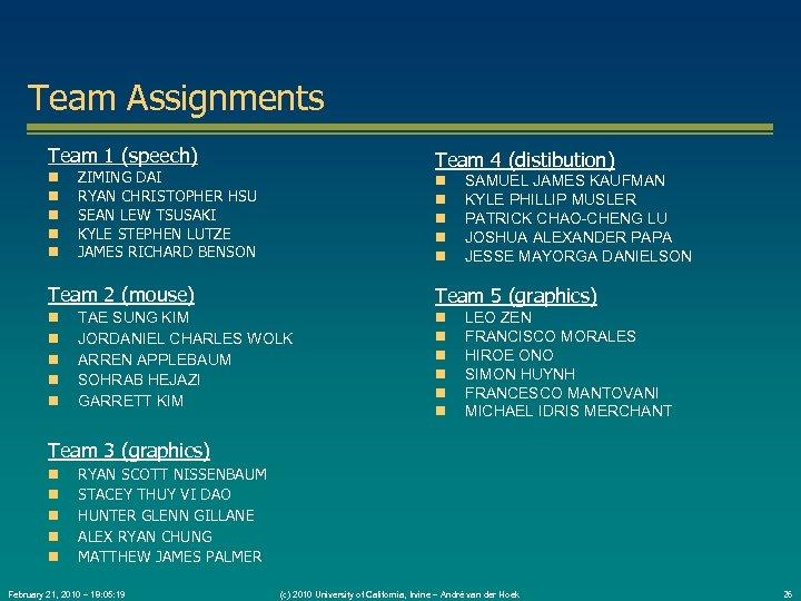 Team Assignments Team 1 (speech) Team 4 (distibution) ZIMING DAI RYAN CHRISTOPHER HSU SEAN