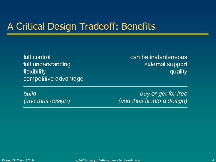 A Critical Design Tradeoff: Benefits full control full understanding flexibility competitive advantage build (and