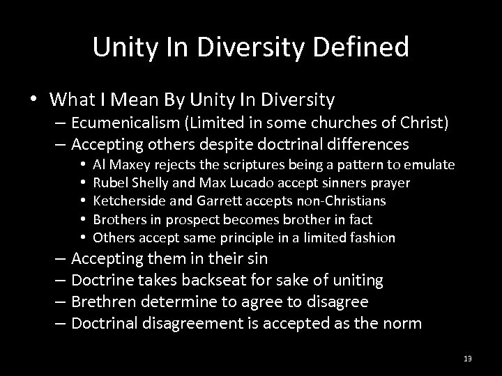 Unity In Diversity Defined • What I Mean By Unity In Diversity – Ecumenicalism