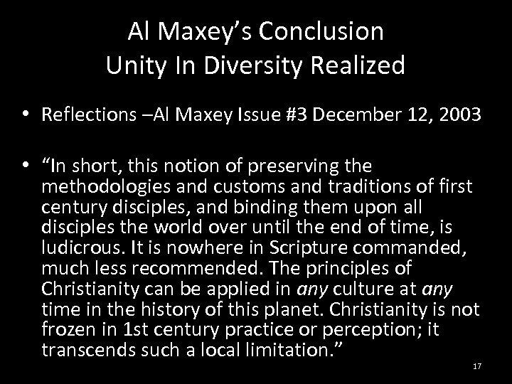 Al Maxey's Conclusion Unity In Diversity Realized • Reflections –Al Maxey Issue #3 December