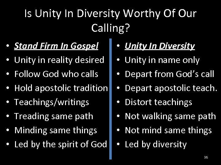 Is Unity In Diversity Worthy Of Our Calling? • • Stand Firm In Gospel