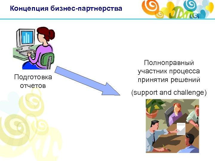 Концепция бизнес-партнерства Подготовка отчетов Полноправный участник процесса принятия решений (support and challenge)