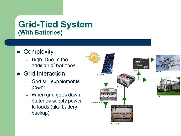 Grid-Tied System (With Batteries) l Complexity – l High: Due to the addition of