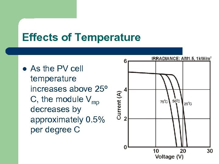 Effects of Temperature l As the PV cell temperature increases above 25º C, the