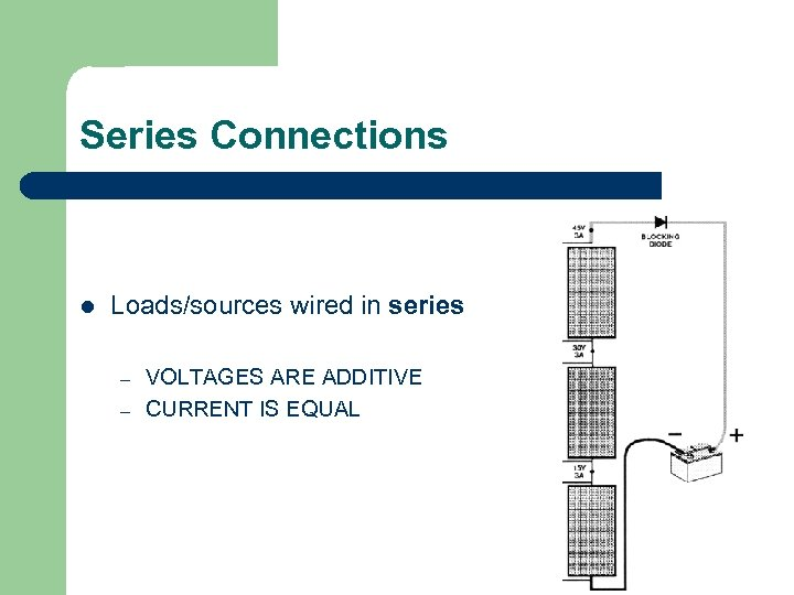 Series Connections l Loads/sources wired in series – – VOLTAGES ARE ADDITIVE CURRENT IS