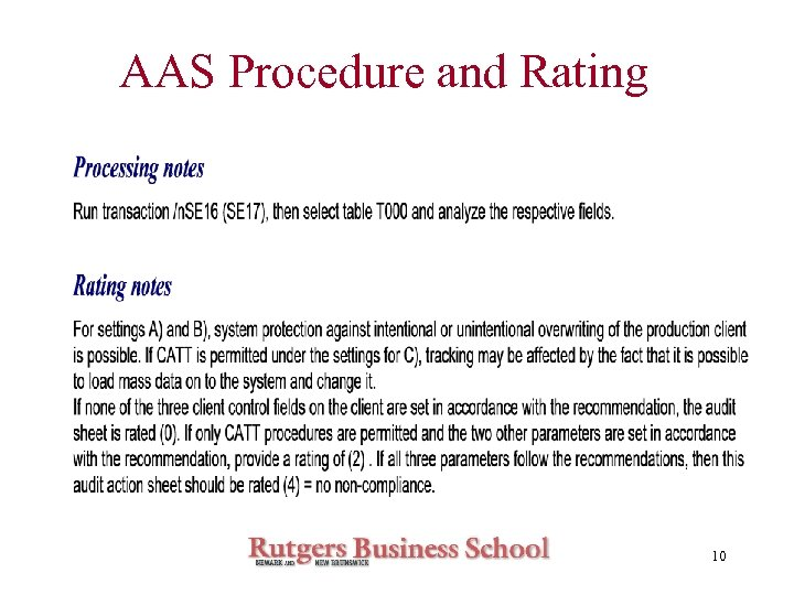 AAS Procedure and Rating 10
