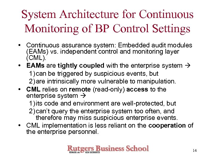 System Architecture for Continuous Monitoring of BP Control Settings • Continuous assurance system: Embedded