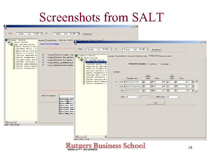 Screenshots from SALT 19